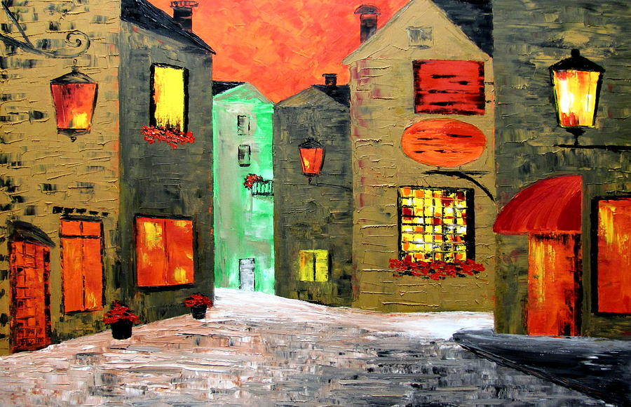 Old Town  Painting - Night In The Town by Mariana Stauffer