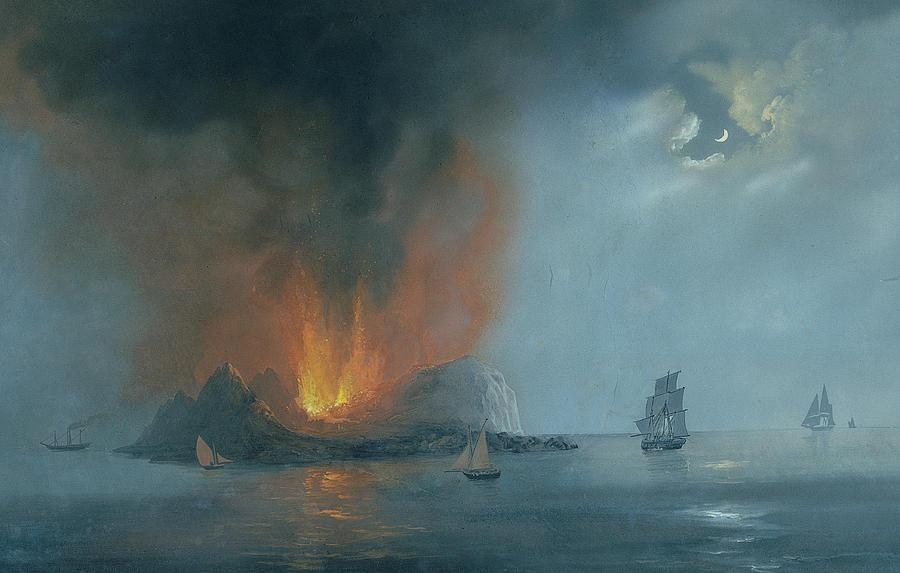 Night Island Ferdinandea, 1831 Painting