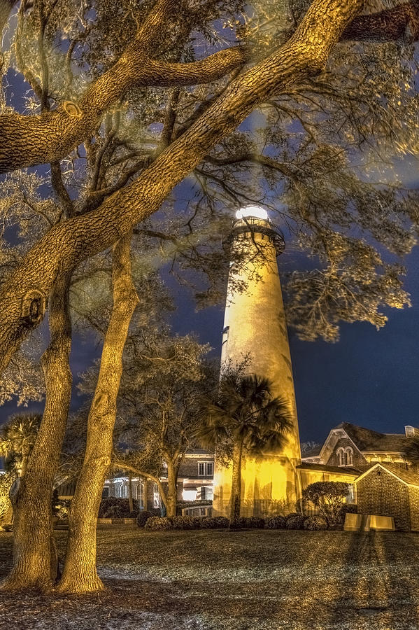 Clouds Photograph - Night Lighthouse by Debra and Dave Vanderlaan