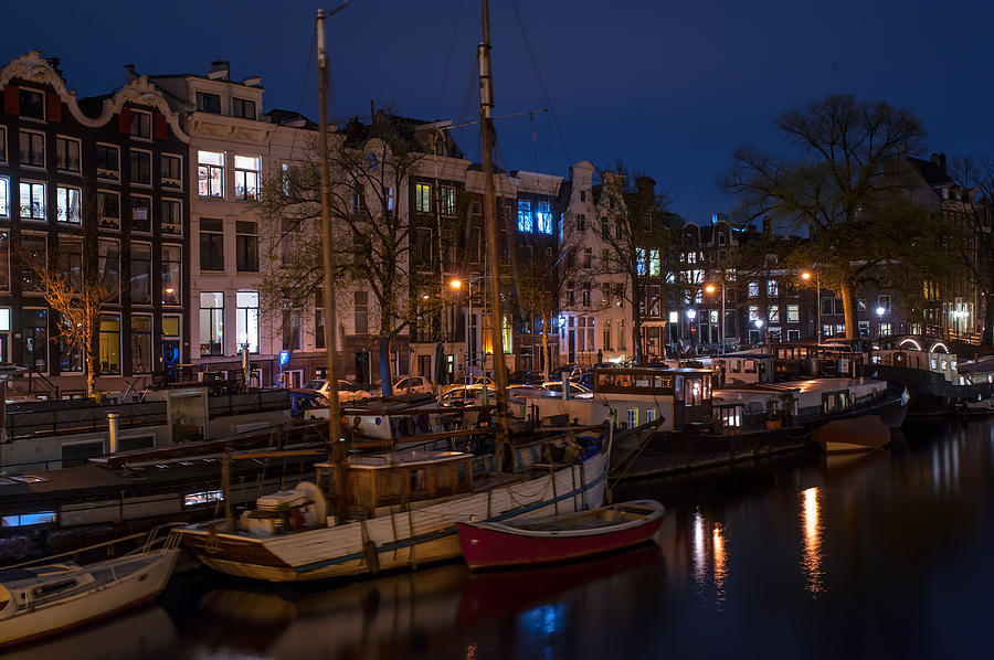 Night Lights On The Amsterdam Canals 7. Holland Photograph