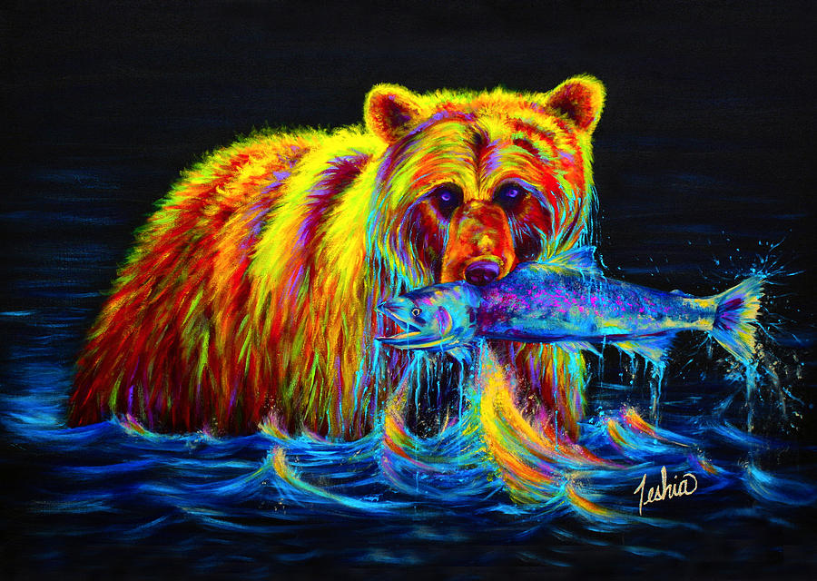 Night Of The Grizzly Painting  - Night Of The Grizzly Fine Art Print