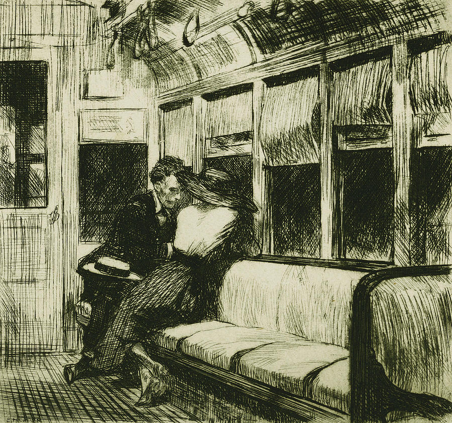 Night On The El Train Drawing  - Night On The El Train Fine Art Print