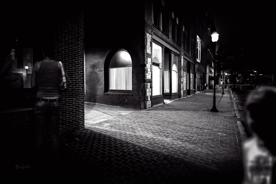Night Photograph - Night People Main Street by Bob Orsillo