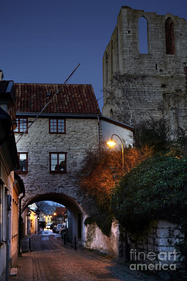 Night Scene In Medieval Town Photograph