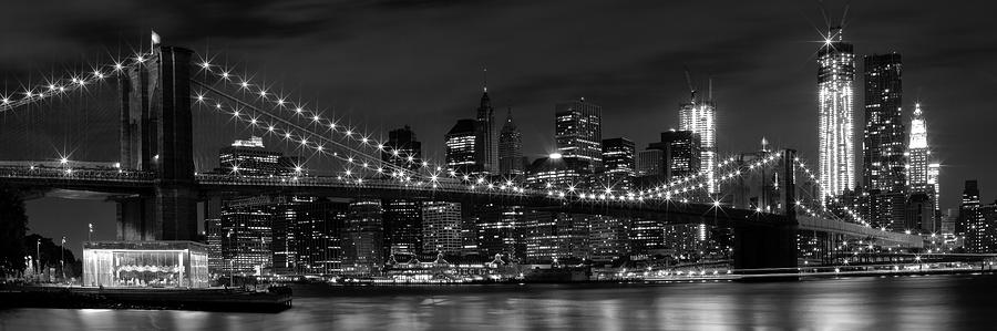 Night-skyline New York City Bw Photograph