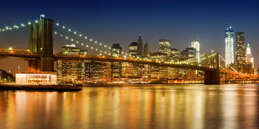 Night-skyline New York City Photograph