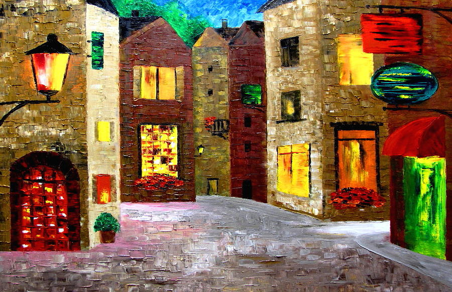 Night Time In A French Village Painting