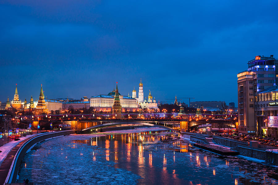 Night View Of Moscow Kremlin In Wintertime - Featured 3 Photograph