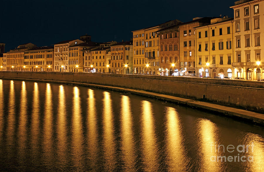 Night View Of River Arno Bank In Pisa Photograph  - Night View Of River Arno Bank In Pisa Fine Art Print