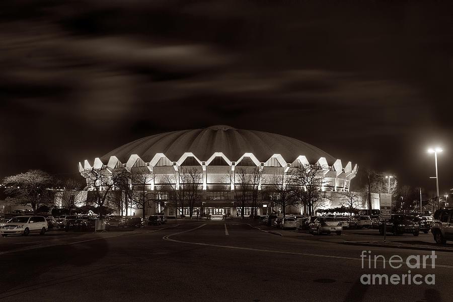 night WVU Coliseum basketball arena Photograph