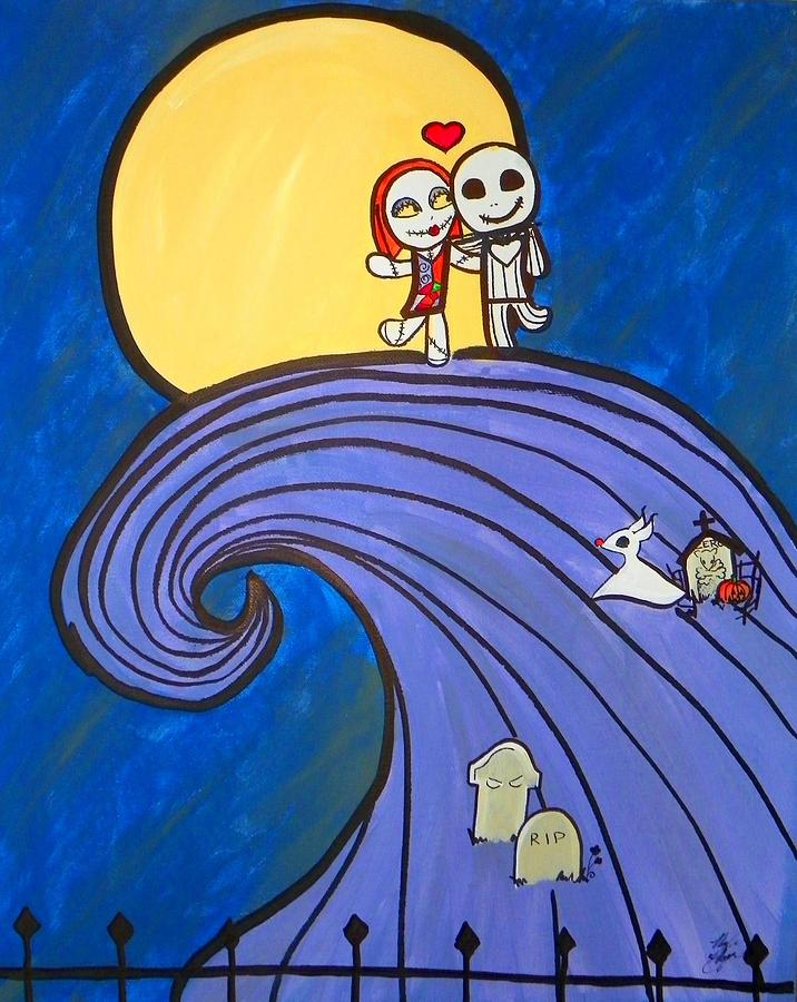 Nightmare Before Christmas Hill Cute Painting  - Nightmare Before Christmas Hill Cute Fine Art Print