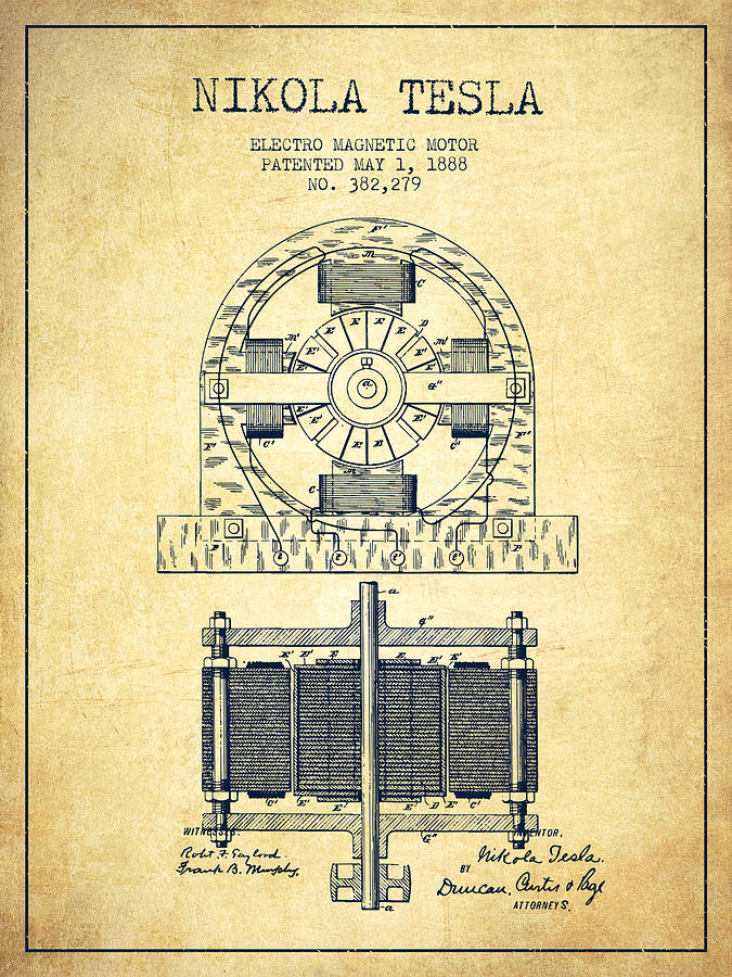 Nikola Tesla Electro Magnetic Motor Patent Drawing From 1888 - V is a ...