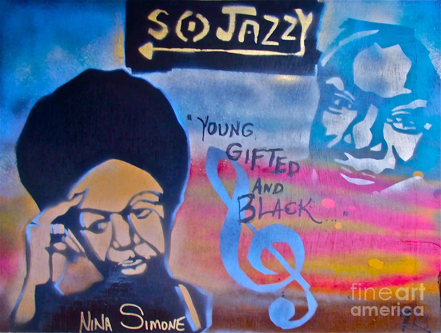 Jazz Painting - Nina Simone by Tony B Conscious