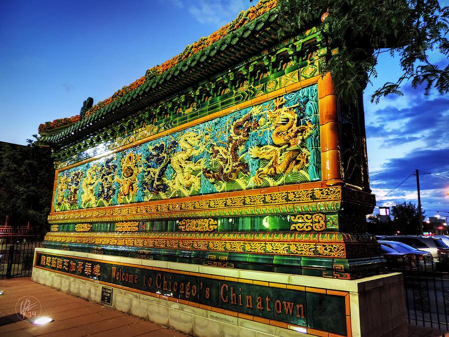 Nine Dragon Wall: Nine-dragon Wall Of Chinatown Chicago 001 Photograph By