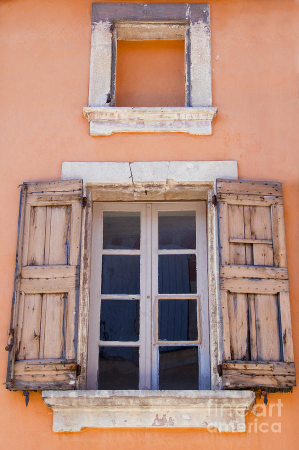 Bonnieux France Window Windows Shutter Shutters Cityscape Cityscapes Provence Architecture Photograph - Nine Panes Minus One by Bob Phillips