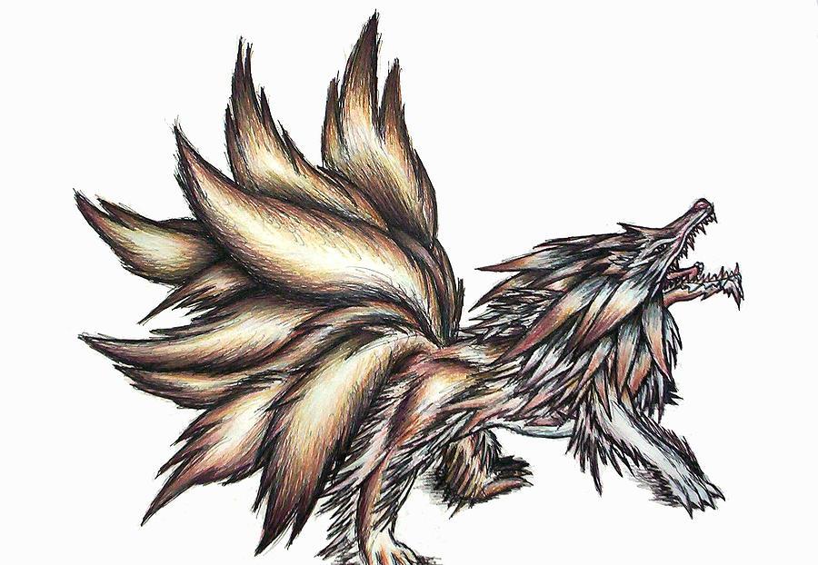 Nine Tails Wolf Demon Painting