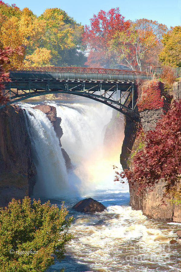 Nj Great Falls In Autumn Photograph  - Nj Great Falls In Autumn Fine Art Print