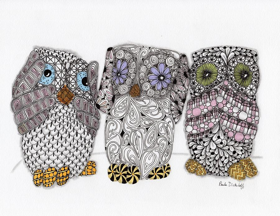 No Evil Owls Drawing  - No Evil Owls Fine Art Print