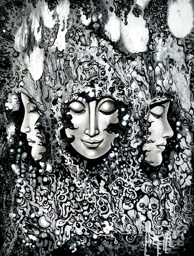 Black And White Painting - No Title by Kritsana Tasingh