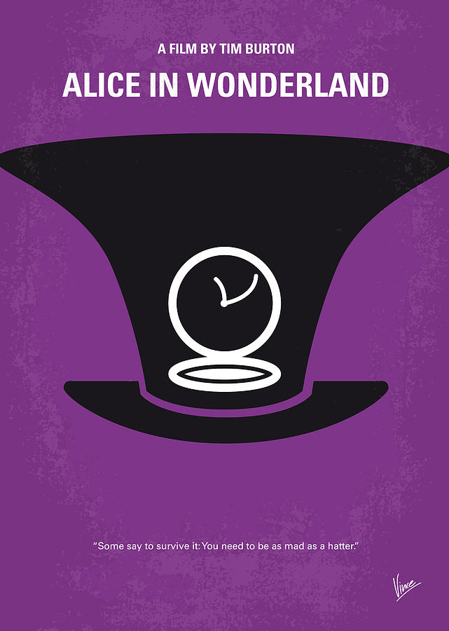 No140 My Alice In Wonderland Minimal Movie Poster Digital Art  - No140 My Alice In Wonderland Minimal Movie Poster Fine Art Print
