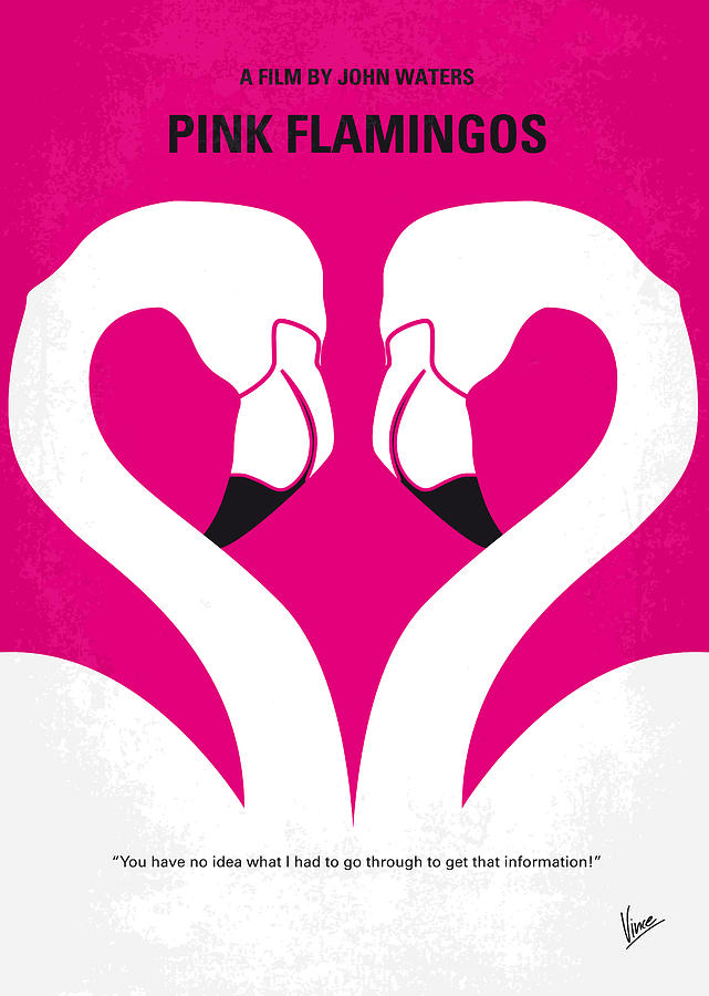 No142 My Pink Flamingos Minimal Movie Poster Digital Art