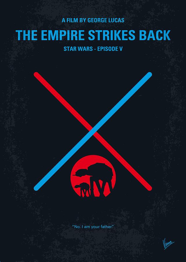 No155 My Star Wars Episode V The Empire Strikes Back Minimal Movie Poster Digital Art