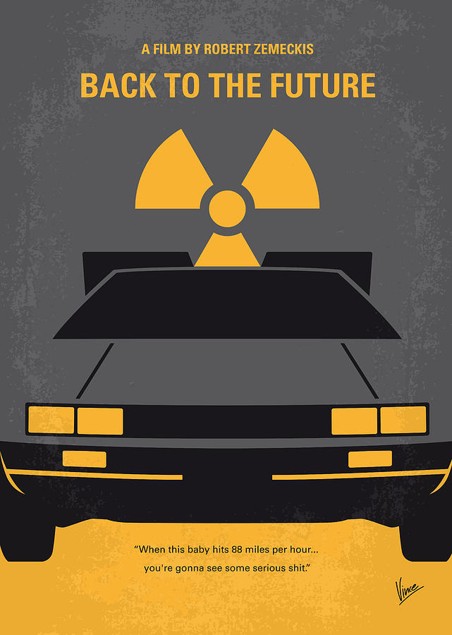 No183 My Back To The Future Minimal Movie Poster Digital Art  - No183 My Back To The Future Minimal Movie Poster Fine Art Print