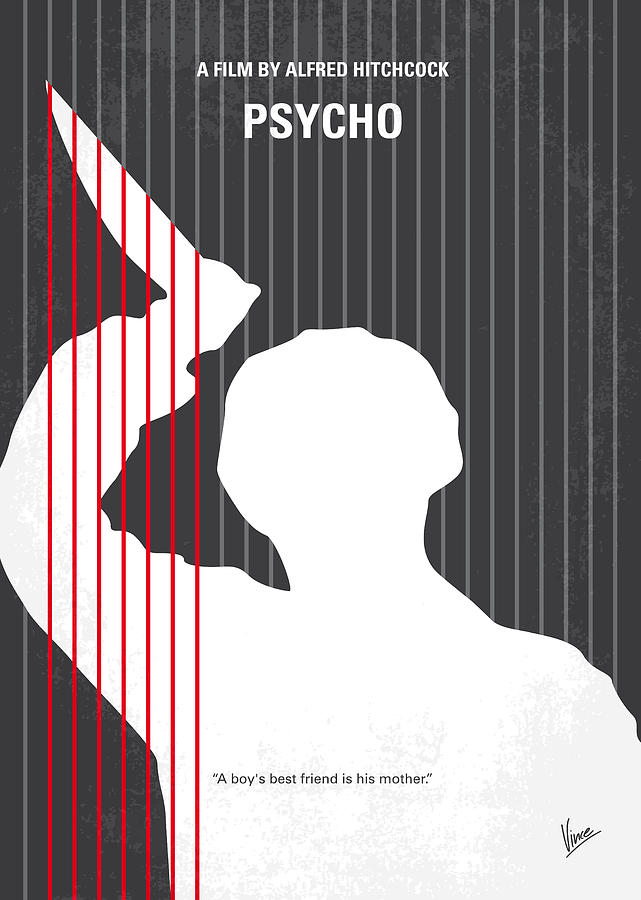 No185 My Psycho Minimal Movie Poster Digital Art