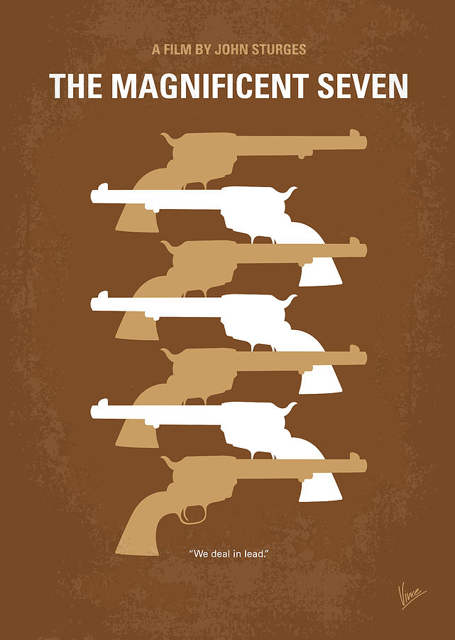 No197 My The Magnificent Seven Minimal Movie Poster Digital Art