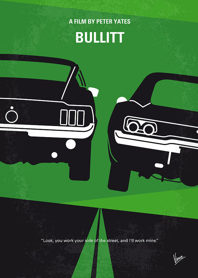 No214 My Bullitt Minimal Movie Poster Digital Art