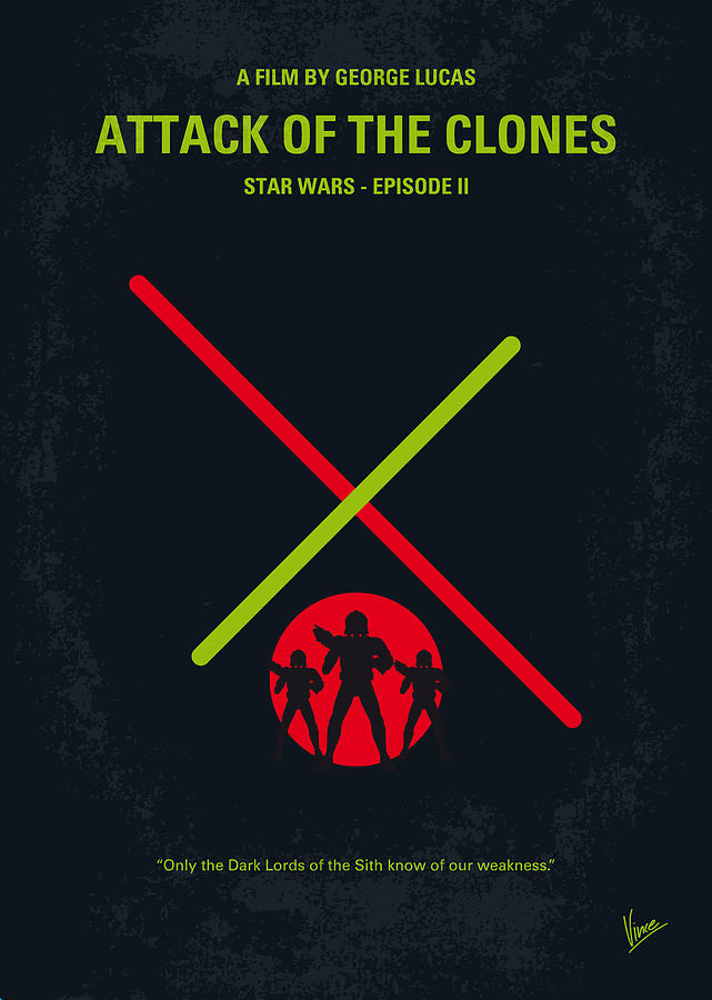 No224 My Star Wars Episode II Attack Of The Clones Minimal Movie Poster Digital Art
