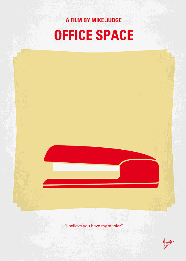 No255 My Office Space Minimal Movie Poster Digital Art