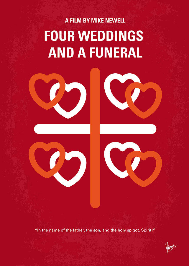 No259 My Four Weddings And A Funeral Minimal Movie Poster Digital Art