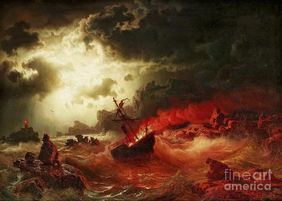 Nocturnal Marine With Burning Ship Painting