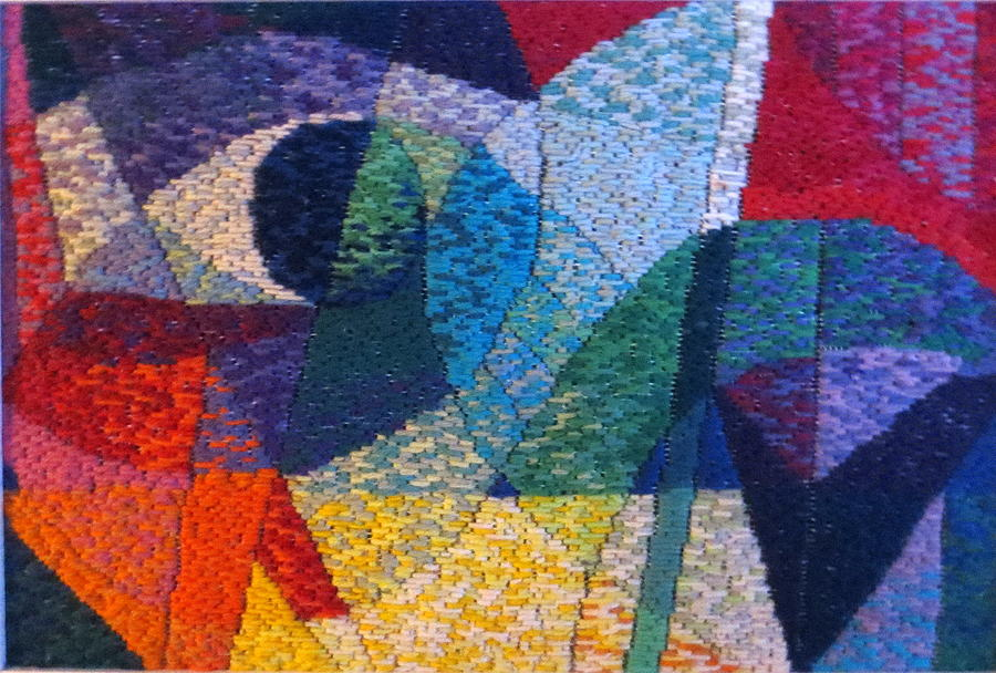 Abstract Expressionist Needlepoint Tapestry - Textile - Nocturne 1 by Diane Fine