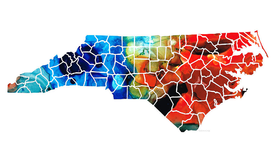 North Carolina - Colorful Wall Map By Sharon Cummings Painting