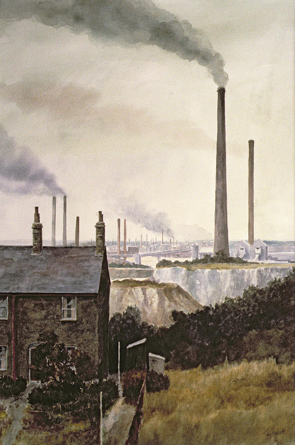 Factory; Pollution Painting - North Kent Landscape  Nr Northfleet Gravesend by Vic Trevett