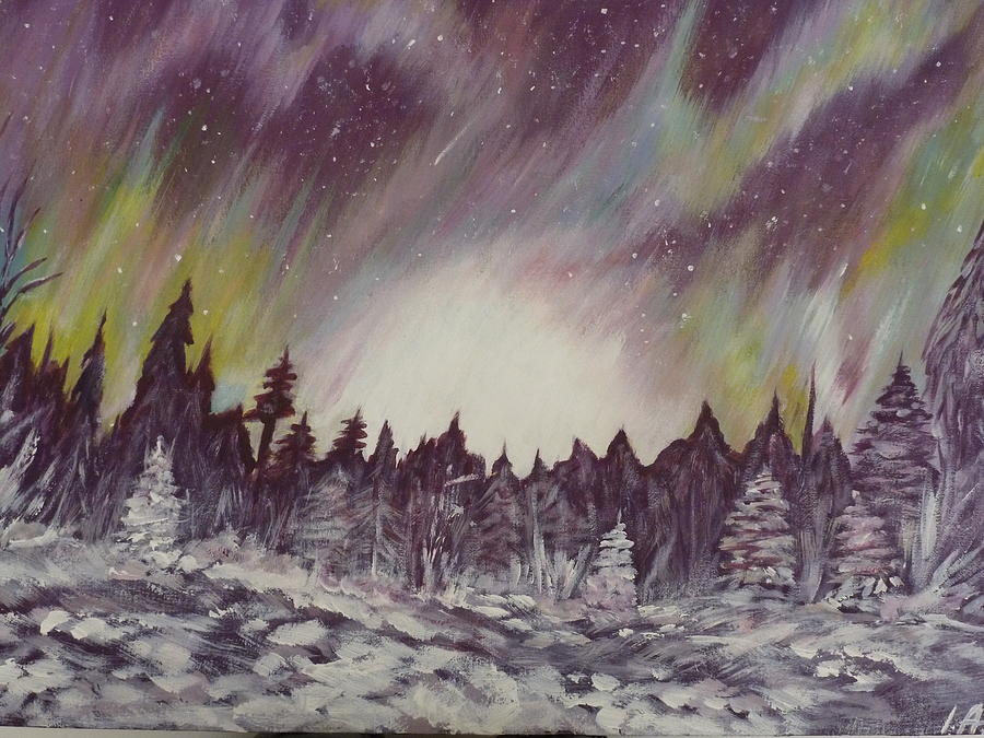 Winter Painting - Northern Lights  by Irina Astley
