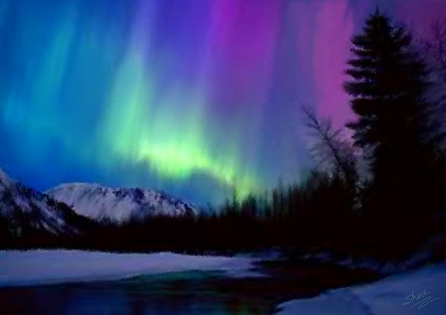 Northern Lights Painting By Shere Crossman