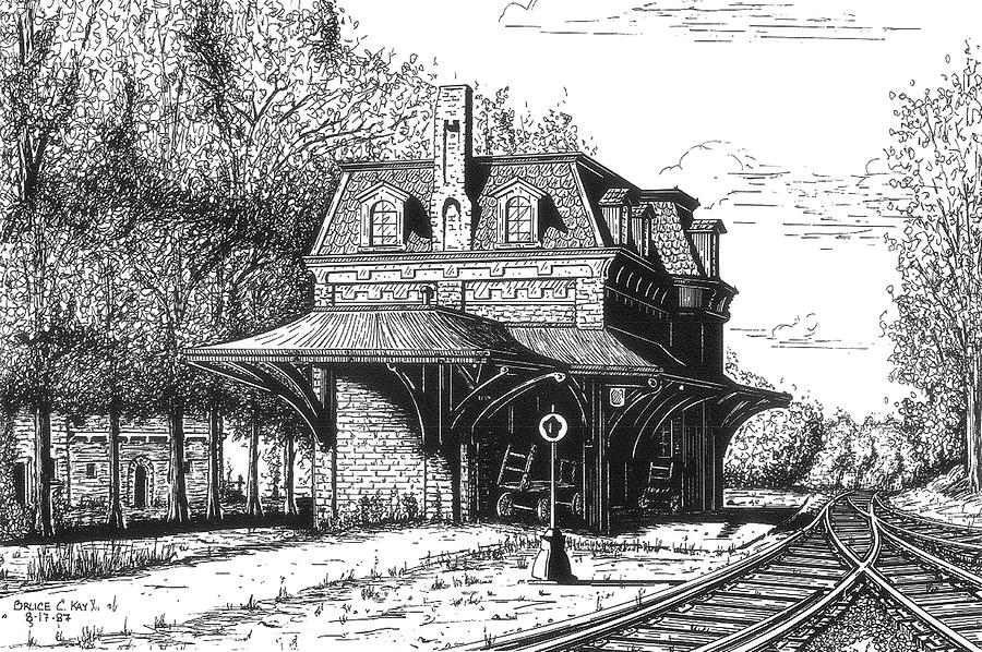 Northern New England Depot Drawing  - Northern New England Depot Fine Art Print