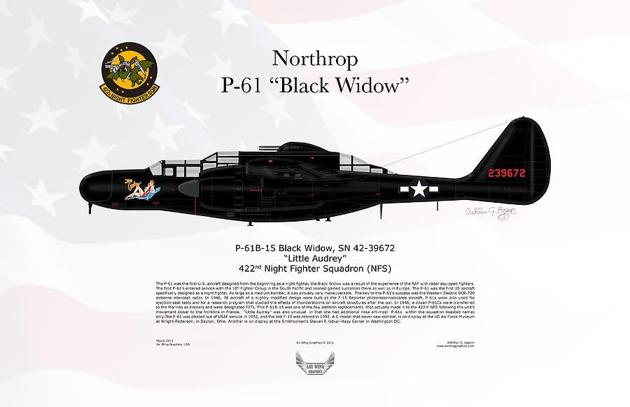 Northrop p 61 black widow is a piece of digital artwork by arthur