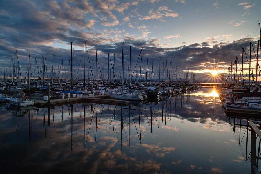 Shilshole Photograph - Northwest Marina Sunset Sunstar by Mike Reid