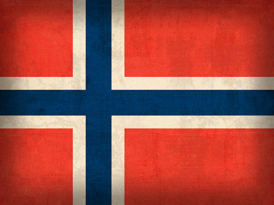Norway Flag Distressed Vintage Finish Mixed Media