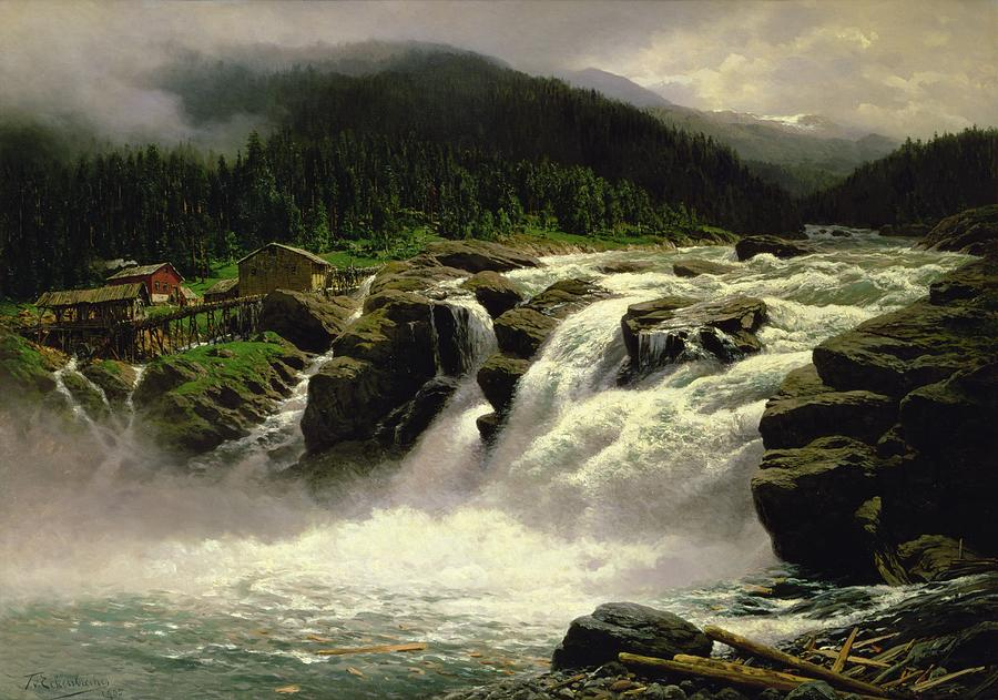 Norwegian Waterfall Painting
