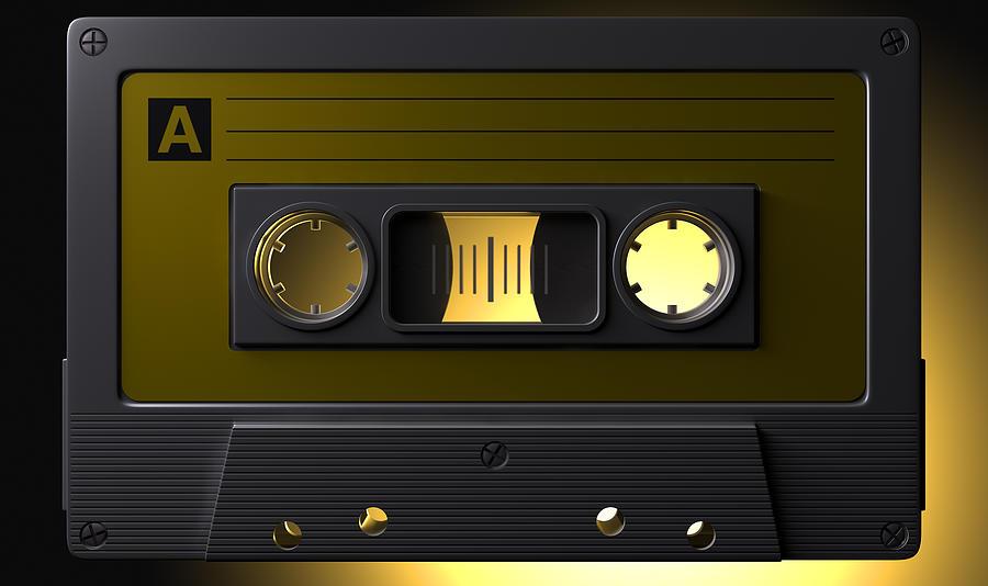 Nostalgic Macro Cassette Tape Digital Art