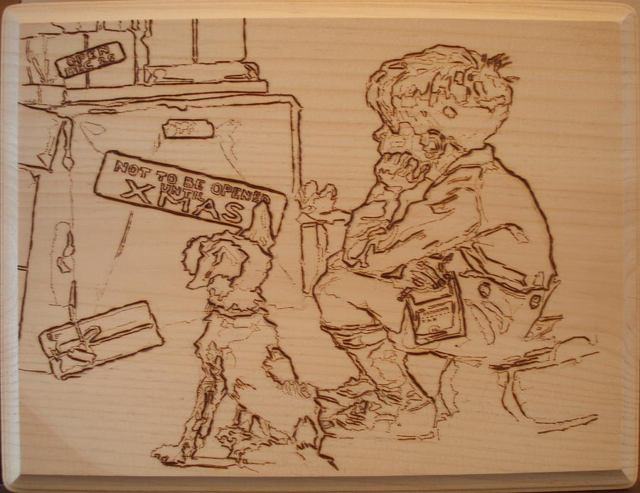 Not To Be Opened Until Christmas Pyrography  - Not To Be Opened Until Christmas Fine Art Print