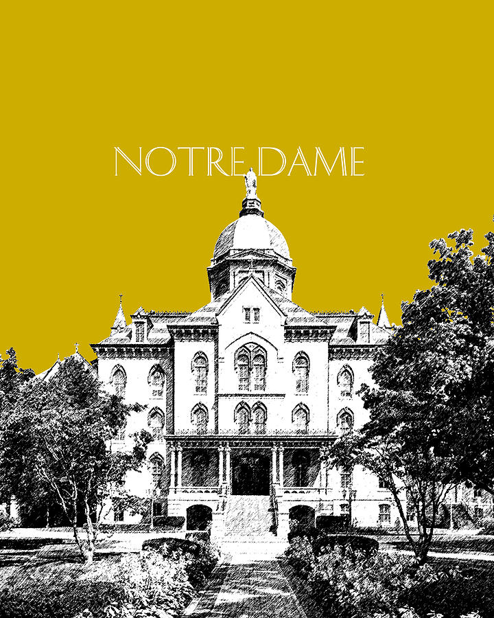 Notre Dame University Skyline Main Building - Gold Digital Art