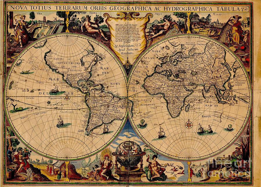 Nova Totius Terrarum Orbis Geographica Ac Hydrographica Tabula Old World Map Photograph