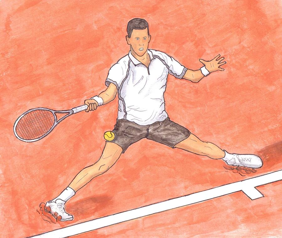 Novak Djokovic Sliding On Clay Painting  - Novak Djokovic Sliding On Clay Fine Art Print