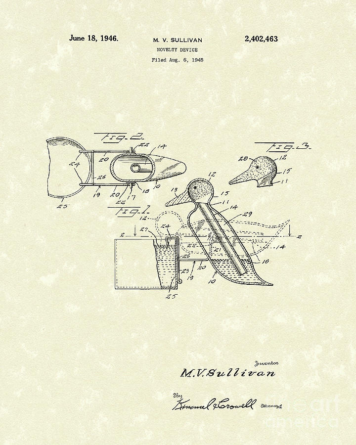 Novelty Duck 1946 Patent Art Drawing
